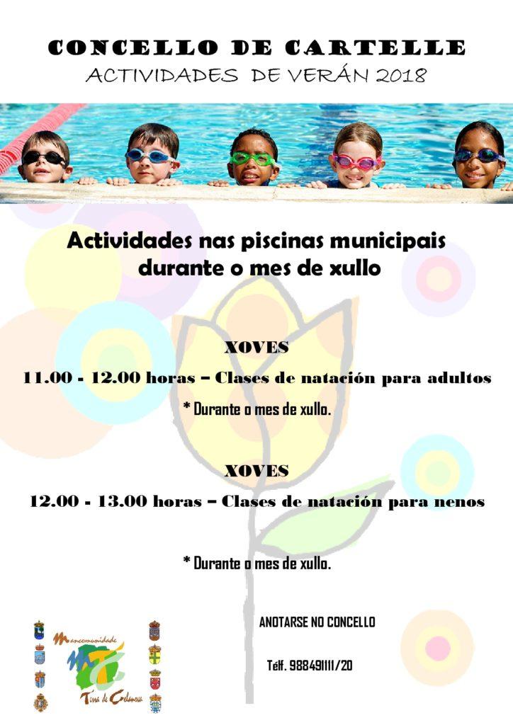 Cartel actividades piscina