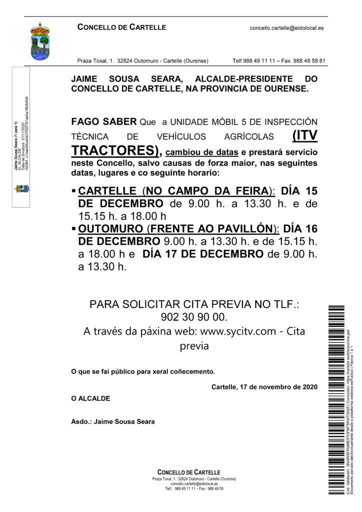 Bando ITV tractores-Cartelle