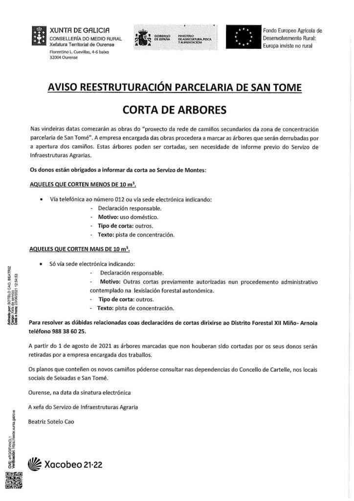 Aviso restruturación parcelaria de San Tomé