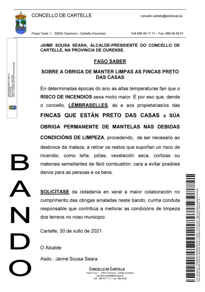 Bando SOBRE A OBRIGA DE MANTER LIMPAS AS FINCAS PRETO DAS CASAS